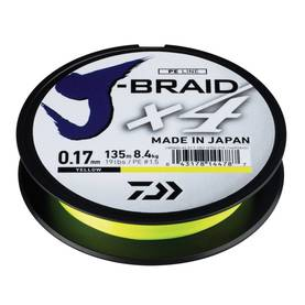 Kuitusiima J-Braid X4E 0,29 mm 135 m Yellow - Siimat - 043178144824 - 1